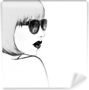 Fotomural Estándar Mujer con gafas. ejemplo de la acuarela