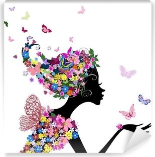Fotomural Estándar Niña con flores y mariposas