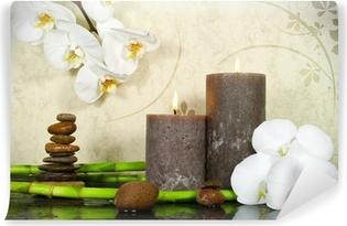 Fotomural Estándar Orchidee weiß mit Bambus und Kerzen und Steinen