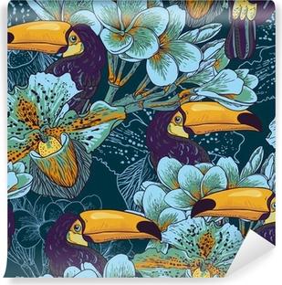 Fotomural Estándar Parrern transparente tropical con flores y Toucan