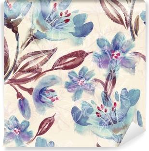 Fotomural Estándar Patrón de flores sin fisuras azul de la acuarela
