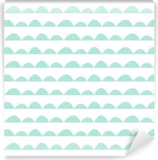 Fotomural Estándar Patrón de menta sin fisuras escandinavo estilo dibujado a mano. filas colina estilizadas. Modelo de onda simple para la tela, textil y ropa de bebé.