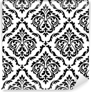 Fotomural Estándar Patrón floral blanco y negro del damasco