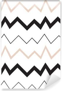 Fotomural Estándar Patrón geométrico sin fisuras. estilo moderno minimalista. Abstract montañas. Zigzag. Es colores blanco y negro desnudo.