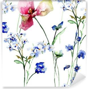Fotomural Estándar Patrón sin fisuras con flores silvestres