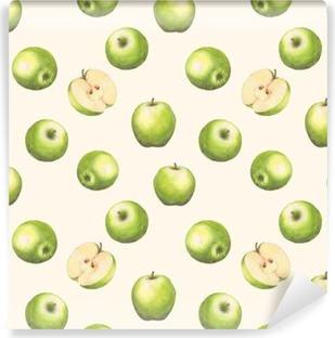Funda de almohada Patrón transparente acuarela dibujada a mano con manzanas  verdes sobre fondo blanco. antecedentes repetidos. • Pixers® - Vivimos para  cambiar