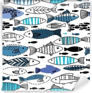 Fotomural Estándar Patrón transparente bajo el agua con peces. Sin fisuras patrón se puede utilizar para fondos de pantalla, fondos de páginas web