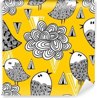 Fotomural Estándar Patrón transparente creativo con el pájaro del Doodle y del diseño.