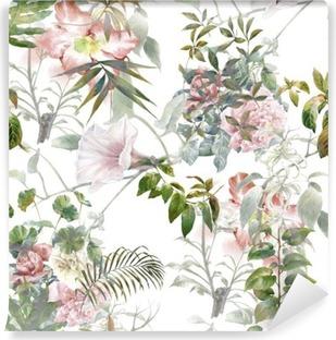 Fotomural Estándar Pintura de la acuarela de la hoja y las flores, patrón de fisuras en el fondo blanco