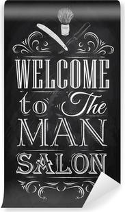 Fotomural Estándar Poster Barbershop bienvenida al salón hombre con un estilo retro y