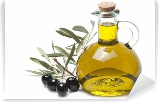 Fotomural Estándar Rama de olivo con aceitunas negras y aceite de oliva.