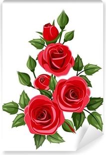 Fotomural Rosas Rojas Y Rosas Ilustracion Del Vector Pixers