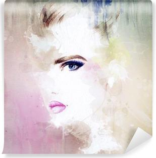 Fotomural Estándar Retrato de la mujer. acuarela abstracta. Fondo de la manera