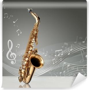 Fotomural Estándar Saxofón con las notas musicales