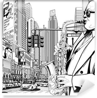 Fotomural Estándar Saxofonista en una calle de Nueva York
