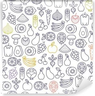 Fotomural Estándar Sin patrón, con frutas y verduras iconos