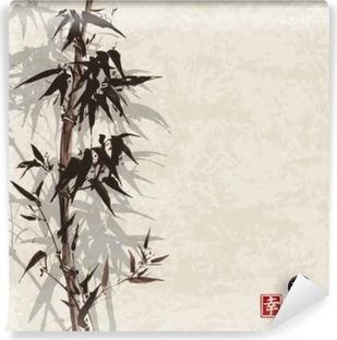 Fotomural Estándar Tarjeta con el bambú en el fondo de la vendimia en el estilo del sumi-e. Dibujado a mano con tinta. Contiene jeroglífico - la felicidad, suerte