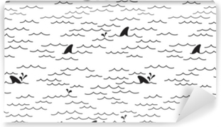 Fotomural Estándar Tiburón delfín patrón transparente vector ballena mar océano doodle aislado fondo de pantalla fondo blanco