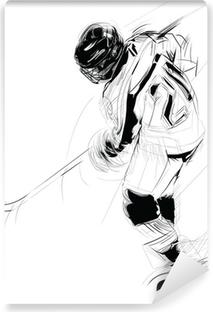 Fotomural Estándar Tinta ilustración dibujo de un jugador hielo chupetón