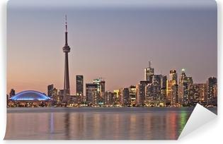 Fotomural Estándar Toronto horizonte de la noche CN Tower rascacielos del centro de la puesta del sol Canad