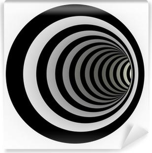 Fotomural Estándar Túnel de líneas en blanco y negro