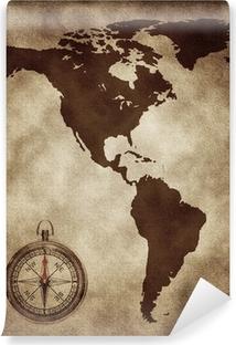 Fotomural Estándar Un mapa con una brújula de Norte y Sudamérica