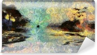 Fotomural Estándar Vivid pintura Turbulencia de islas atardecer o amanecer