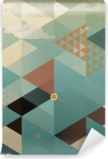 Vinyl-Fototapete Abstract Retro Geometrische Hintergrund mit Wolken
