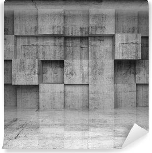 Vinyl-Fototapete Abstrakt leer konkrete Interieur mit Würfel an der Wand