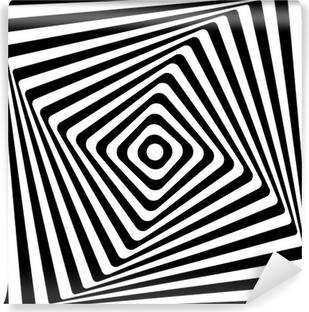 Vinyl-Fototapete Abstrakt Square Spiral Schwarz-Weiß-Muster-Hintergrund.