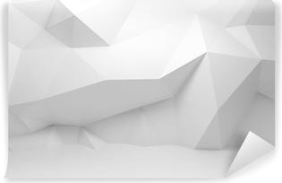 Vinyl-Fototapete Abstrakt weiß 3D Interieur mit polygonalen Muster an der Wand