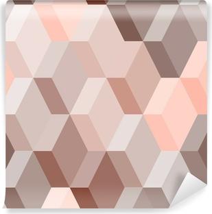 Vinyl-Fototapete Abstrakte geometrische nahtlose Muster in rosa und braun, Vektor-