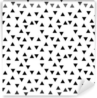 Vinyl-Fototapete Abstrakte geometrische schwarze und weiße Hipster Mode Zufallsdreiecksmuster