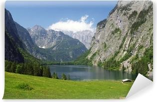 Vinyl-Fototapete Alpenpanorama mit Bergsee am Watzmann
