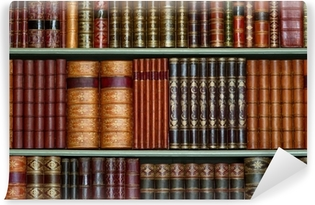 Vinyl-Fototapete Alte Bibliothek von Vintage-Hardcover-Bücher in den Regalen