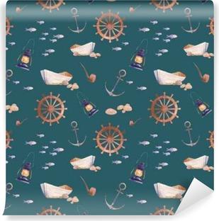 Vinyl-Fototapete Aquarell nautisch nahtlose Muster. Hand gezeichnete Karikatur Textur mit Meer Elemente: altes Boot, Anker, Fische, Rauchen Rohr, Laterne, Rad. Tapetenentwurf auf smaragdgrünem Hintergrund.