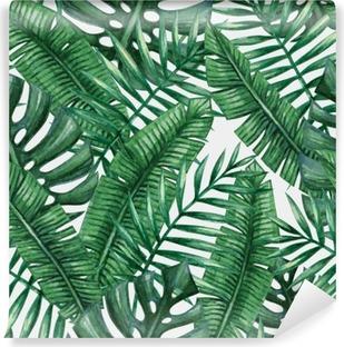 Vinyl-Fototapete Aquarell tropische Palmen Blätter nahtlose Muster. Vektor-Illustration.