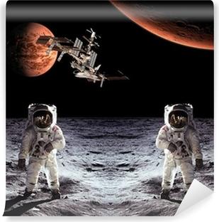 Vinyl-Fototapete Astronauten Raumfahrer-Mond-Planeten