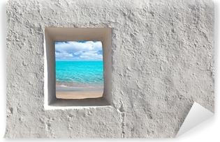 Vinyl-Fototapete Balearen idyllischen türkisfarbenen Strand von Haus Fenster