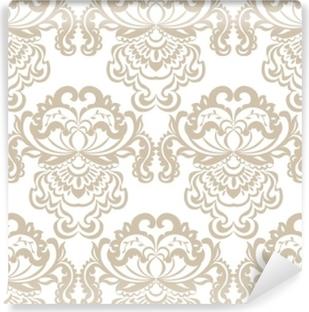 Vinyl-Fototapete Barockes Verzierungsmusterelement des vektorblumendamastes. elegante Luxus Textur für Textilien, Stoffe oder Tapeten Hintergründe. beige Farbe