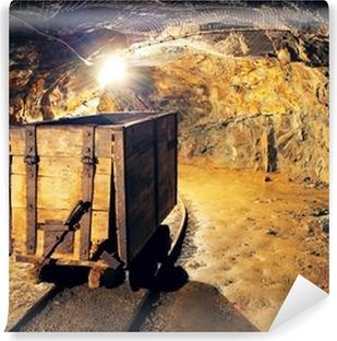 Vinyl-Fototapete Bergbau Wagen in Silber, Gold, Kupfer Mine