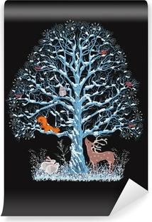 Vinyl-Fototapete Big Blue Tree mit verschiedenen Tieren auf schwarzem Hintergrund
