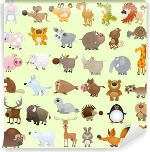 Vinyl-Fototapete Big vector cartoon animal set