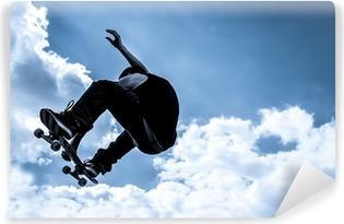 Vinyl-Fototapete Blau getönten Mondlicht Skateboarding abstrakt