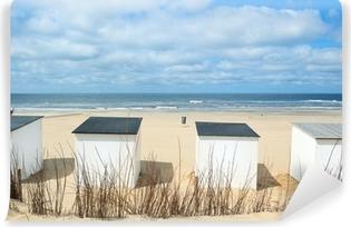 Vinyl-Fototapete Blau Strandhütten am Texel