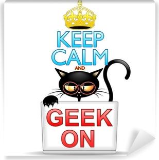 Vinyl-Fototapete Bleib 'ruhig und Geek auf Cartoon-Katze