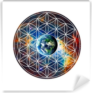 Vinyl-Fototapete Blume des Lebens - Erde - Heilige Geometrie