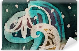 Vinyl-Fototapete Blume, heiße Batik, Hintergrund-Textur, Handarbeit auf Seide, abstrakten Surrealismus Kunst