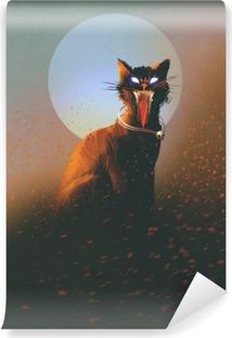 Vinyl-Fototapete Böse Katze auf dem Hintergrund des Mondes, untot, Horror-Konzept, illustration