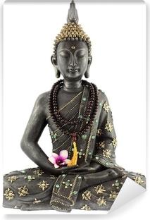 Vinyl-Fototapete Bouddha avec chapelet de prière et fleur d'orchidée